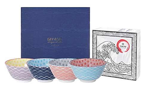 TOKYO design studio, Star Wave, Set di 4 Ciotole Colorate, Ø 12 cm, ca. 300 ml, Porcellana Giapponese con Motivi Colorati, Confezione Regalo Inclusa