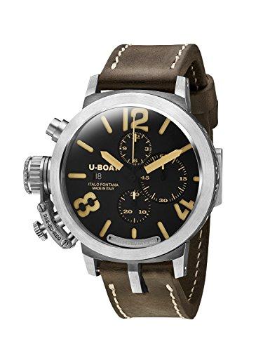 U-Boat Classico 48chr 925BK/BE/A Herren Automatik Uhr mit schwarzem Zifferblatt Chronograph-Anzeige und...