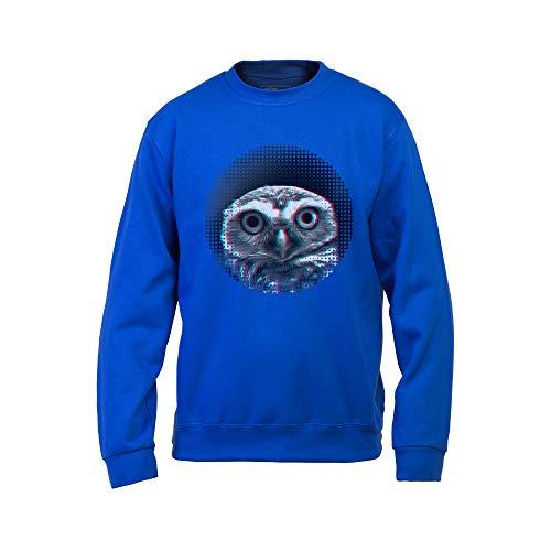 Wild Soul Tees, sudadera para hombre, divertido búho | Posando para cámara fotográfica | Serie de animales | Diseño gráfico | Logo | Ropa | Línea de ropa Azul azul XXL