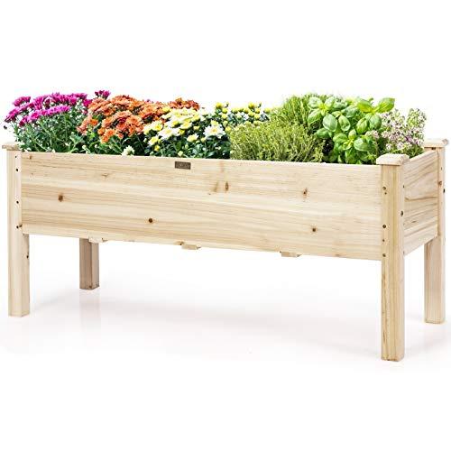 Giantex Hochbeet aus Tannenholz, Blumenbeet mit Ablauflöchern, Pflanzkasten mit hohen Beinen, großer Blumenkasten, Frühbeet bis 100 kg belastbar, für Garten, Balkon, Terrasse