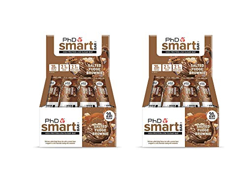 PhD Smart Bar High Protein Low Carb Bar, Salted Fudge Brownie, Pack of 2 (2 x 12 Pieces) 24 Bars x 64 g