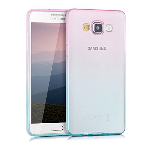 kwmobile Coque Compatible avec Samsung Galaxy A5 (2015) - Étui de Protection Souple en Silicone - Tons Pastel Fuchsia-Bleu Mat
