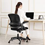 Office Chair, KERDOM Ergonomic Swivel Desk Chair Mesh Computer Chair with Flip-up Armrests Lumbar Support and Adjustable Height(Black)