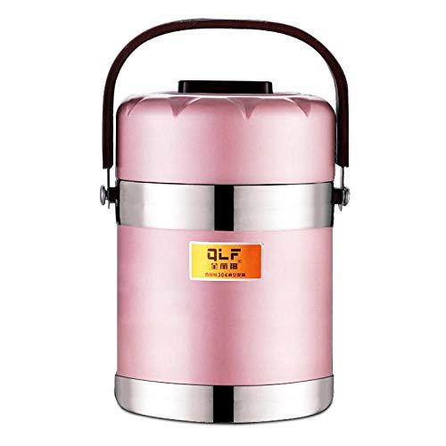 FPXNBONE Isolierbehälter Speisebehälter,Edelstahl Anti-Überlauf-Pfanne, tragbarer vakuumisolierter Zylinder-1.9L_Rose Gold,Thermo Gefäß Bleiben Suppe Heiß
