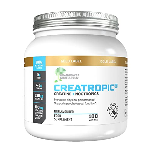 Creatropic® Creatine + Nootropics Powder 500mg   100 Servings  Muscle Size & Strength  Supports Mental Performance  Unflavoured  No Fillers   Vegan With 100mg L-Arginine, 100mg L-Theanine, 100mg L-Tyrosine, 100mg Choline  UK Made   GMP Approved