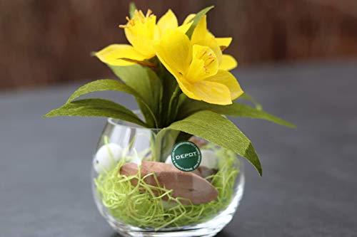 Handgefertigte Narzisse (Tête à Tête) aus Krepppapier in Glasvase/haltbare Frühlingsblume