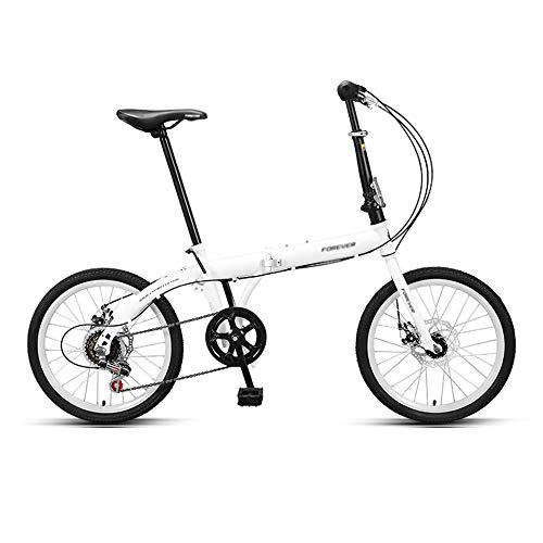 Bicicleta, Bicicleta PortáTil de 20 Pulgadas, Bicicleta de Viaje, Marco Plegable de Acero con Alto Contenido de Carbono, TransmisióN de 6 Velocidades, para Trabajadores de Oficina/Estudiantes