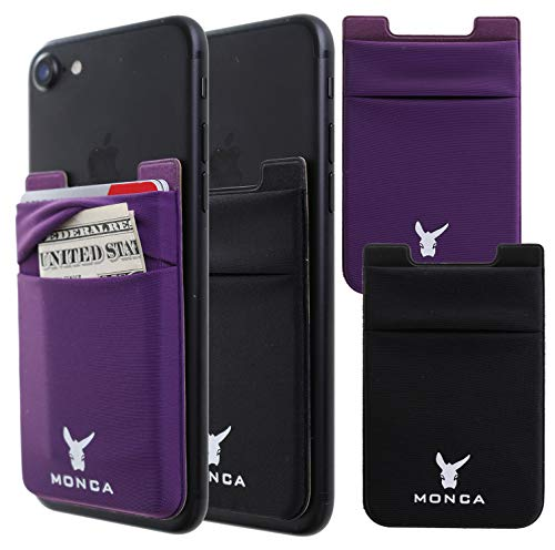 MONCA [Two Pack] Adhesive Wallet Credit Card Holder Case [Double Secure] Stick on Wallet Stretchy Cards Sleeves [Lid & Pocket] for Cell Phones (Black + Purple)