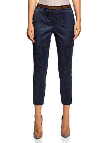 oodji Collection Damen Jacquard-Hose mit Gürtel, Blau, DE 34 / EU 36 / XS