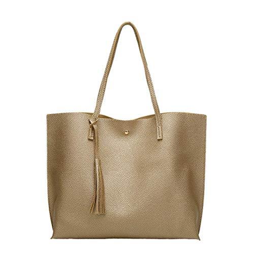 UKKO Handtasche Frauen Softleder Handtaschen-Frauen-Schulter-Beutel Shopper Bucket Bag Mode Damenhandtaschen,Ein