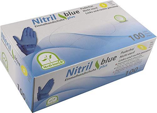 MEDI-INN Nitril blue plus Einweghandschuhe Größe S | 100 Stück | Nitril Einmalhandschuhe blau in praktischer Spenderbox | Ideal für Hygienebereiche wie Lebensmittelbranche, Kosmetik u.v.m. | latexfrei