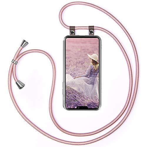 Moex - Cadena para teléfono móvil compatible con LG G8s ThinQ - Funda de silicona con banda - Funda para teléfono móvil - Funda transparente con cordón - Funda con cordón - intercambiable en oro rosa