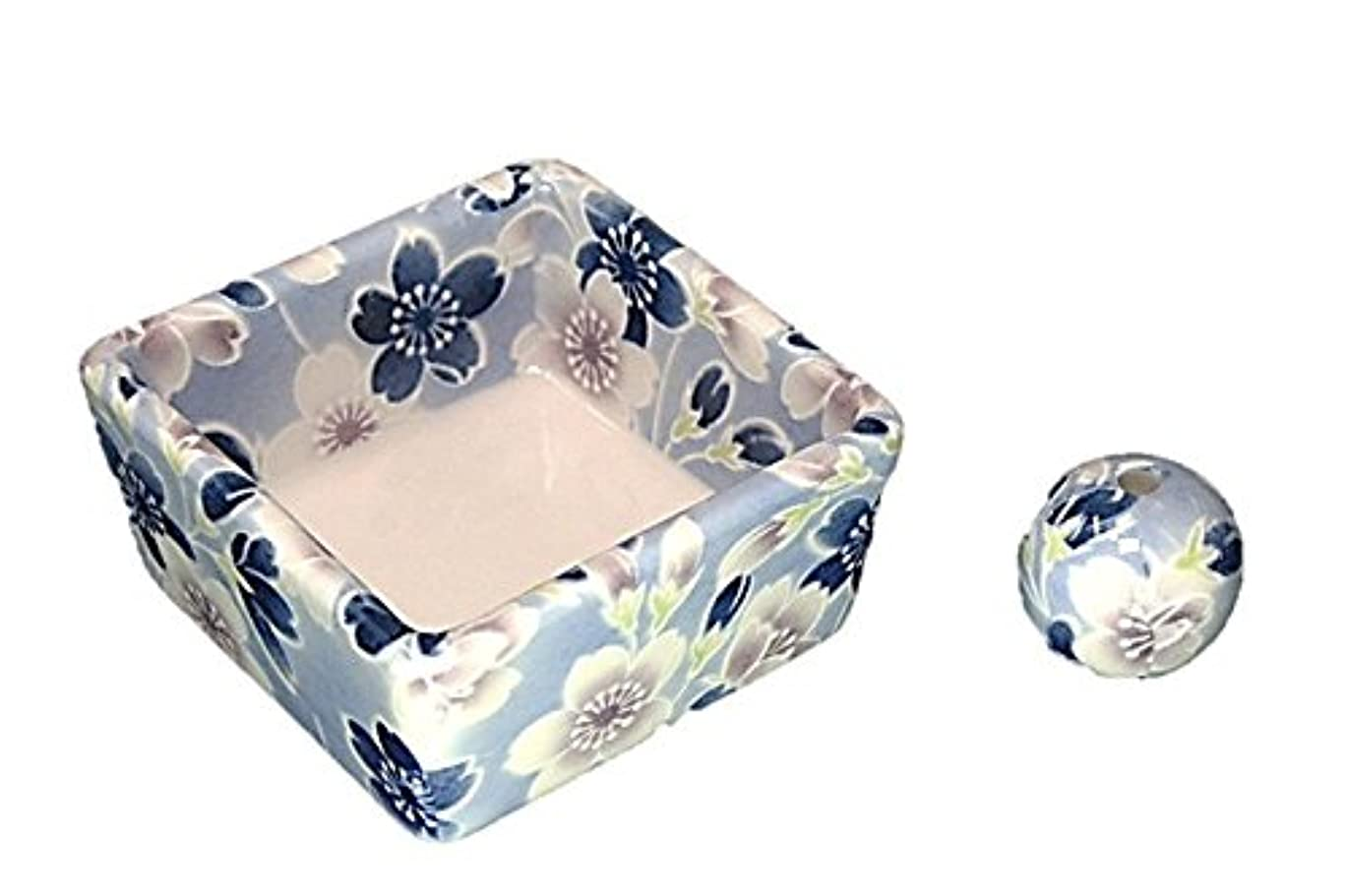 ホイットニー香ばしいマーカー和モダン 青染桜 お香立て 陶器 角鉢 製造直売品