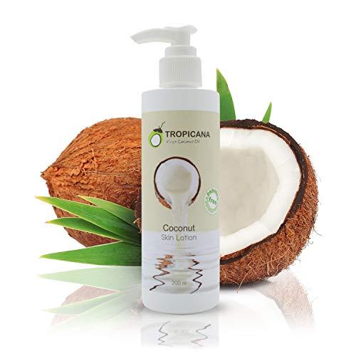Tropicana Oil Kokosöl Body Cream Körperlotion mit Kaltgepresstem Nativem Kokos Öl Feuchtigkeitspflege für schöne Haut Kokosnuss Körpercreme Bodylotion Vitamin E, Vitamin B3 Vegan Naturkosmetik Creme