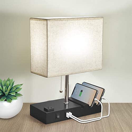 Bedside Lamp for Bedroom 3 Phone Stand Base Modern Table Lamp with Natural Daylight 2 USB Charging product image
