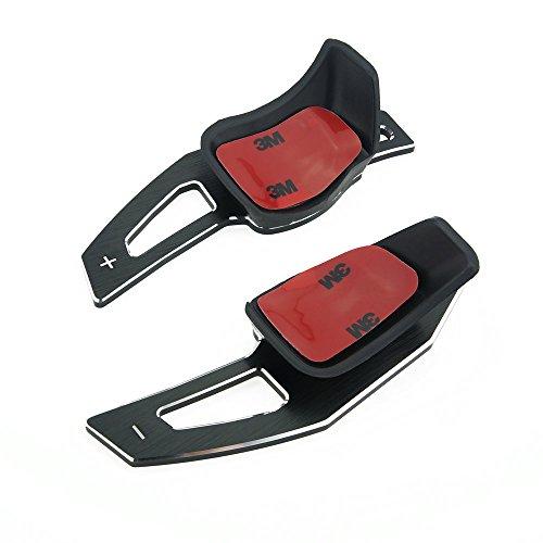 Heinmo 2PCS Estensioni leve in alluminio per cambio al volante, per Golf 5,Golf 6,Scirocco, Eos, Passat CC, argento e nero, 2 pezzi (argento), unisex, Nero