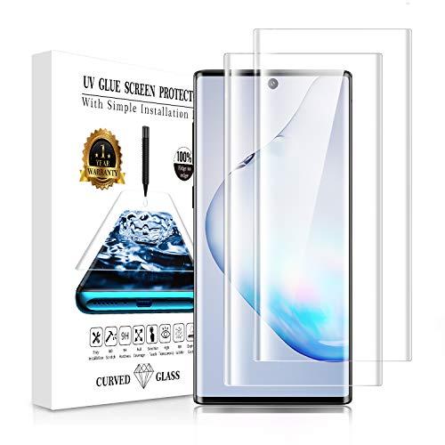 Galaxy Note 10 Plus ガラスフィルム【2枚セット】Galaxy Note 10 plus フィルム ガイド枠付き『3D全面保護』液晶強化ガラス 指紋対応可能 全面吸着