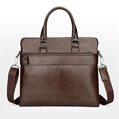 Herrenhandtaschen, große Laptoptasche aus echtem Leder, Umhängetasche der Business Office Work School, 15-Zoll-Umhängetasche Aktentasche Herren braun