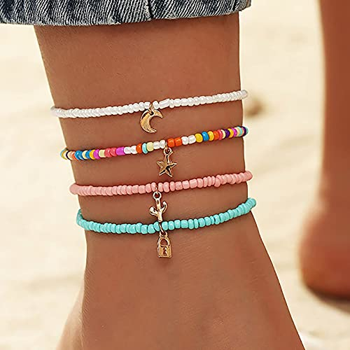 Boho Handmade Beads Multilayered Ankle Bracelets Colorful Women Anklets Moon and Star Pendant Anklet Beaded Bracelet Elastic Foot Jewelry for Summer Beach (4PCS) (Set-1)