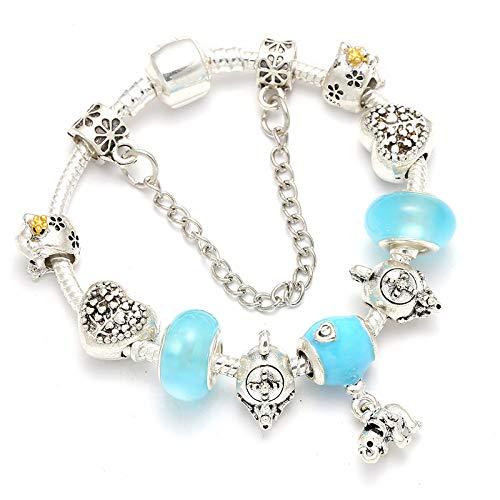 GSYDSZ Luxus Silber Farbe Romantische Nette Frosch Teekanne Charme Armbänder Mit Kristall Perlen Feine Armbänder Für Frauen Mädchen Geschenk