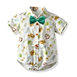 Baby Boys Formal Short Sleeve Shirt Infant Button Up Bodysuit Newborn Romper Clothes Animals Print Toddler (Monkey, 12-18 Months)