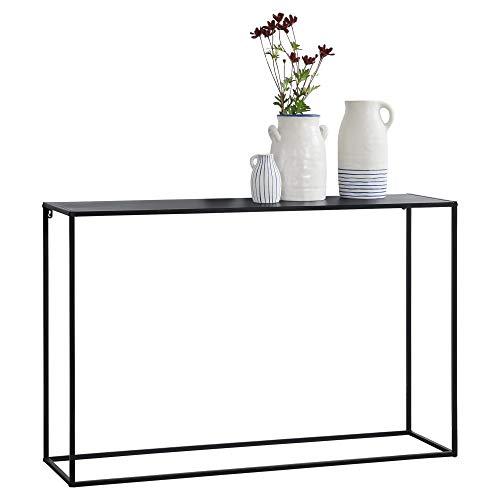 [en.casa] Konsolentisch Beistelltisch 74x115x32 cm Wohnzimmertisch Industrie-Design Metall Schwarz