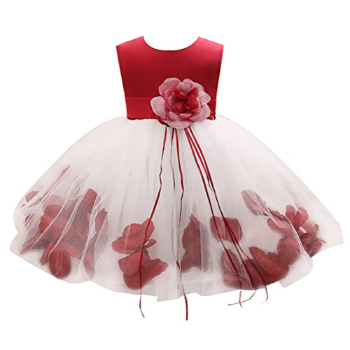 Zhhlinyuan 3-8 Years Old,Mode Little Girls Sleeveless Big Flower Princess Dress Kids Tulle Party Pageant Wedding Bridesmaid Tutu Dresses