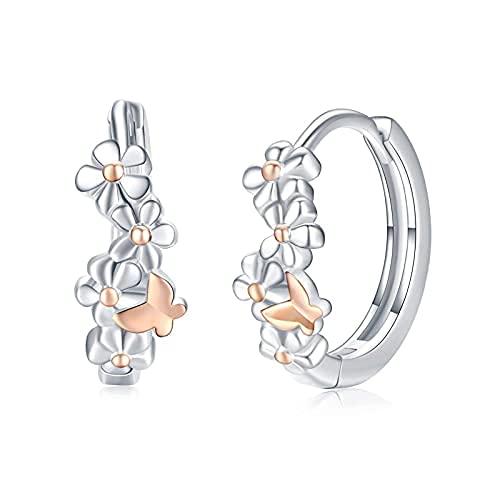 Pendientes de flores de plata de ley 925, mariposas, pendientes de aro con flores, joya de oro rosa, regalo de cumpleaños para mujeres, niñas y niños