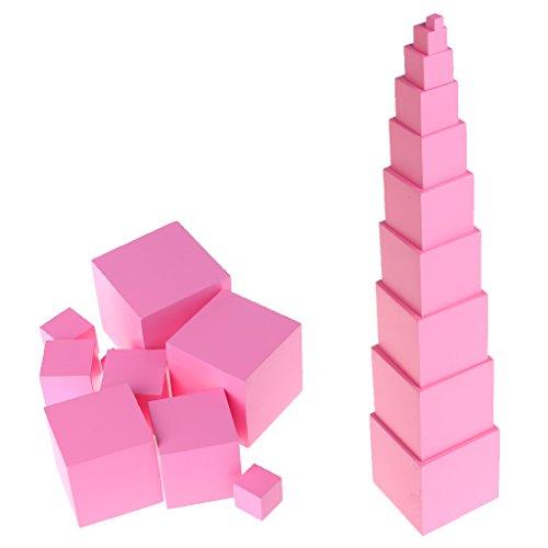 MiSha Torre Rosa Montessori Juguete, uguete de Madera Montessori Montessori Juguetes educativos