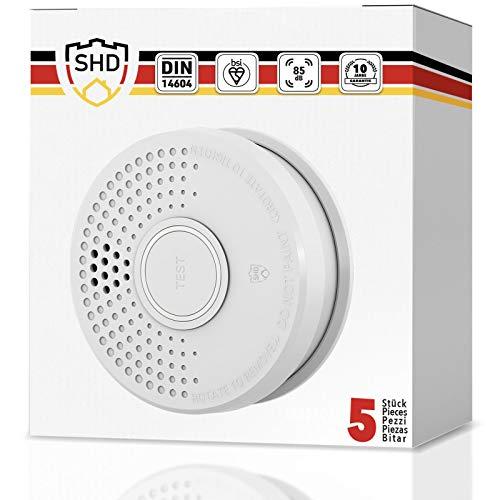 Rauchmelder 5er Set mit 10 Jahre Garantie inkl. 5X 9V Batterie geprüft nach DIN EN14604 und BSI Zertifiziert - 5 Stück Rauchwarnmelder Feuermelder Brandmelder Feueralarm …
