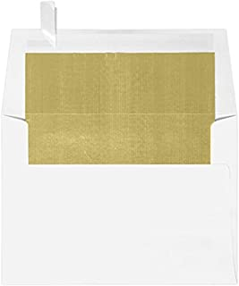 A6 Foil Lined Invitation Envelopes w/Peel & Press (4 3/4 x 6 1/2) - White w/Gold LUX Lining (50 Qty.)