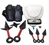 Accesorios de cosplay de Naruto Anime, diadema metálica, collar, riñonera, bolso de pierna, collar, anillo Zhu, accesorios Ninja Kunai