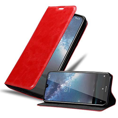 Cadorabo Hülle für Nokia 2.2 in Apfel ROT - Handyhülle mit Magnetverschluss, Standfunktion & Kartenfach - Hülle Cover Schutzhülle Etui Tasche Book Klapp Style