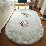 TANGFUTI Faux Fur Oval Area Rugs for Living Room Shaggy...