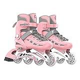 OLYSPM Roller Femme Roller Enfant Fille,Coque entièrement protectrice,Taille réglable en Ligne de Rollers en Ligne à Roues Lumineuses,Roller Enfant Garcon