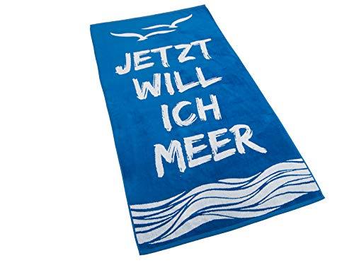 Strandtuch, Badetuch 170 x 90 Frottee-Velour Liegetuch Strandtuch Trockentuch (Blau - Ich Will Meer)