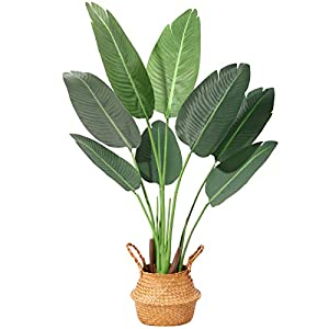 Silk Flower Arrangements Ferrgoal Artificial Bird of Paradise Plants 47 Inch Fake Tropical Palm Tree with 8 Trunks in Pot and Woven Seagrass Belly Basket Perfect Faux Plant for Home Indoor Outdoor Office Modern Decor Green