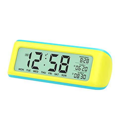 MoKo Sveglia Digitale, Orologio da Comodino con Schermo Retroilluminato da 5,5 Pollici, Impostazione Temperatura Ora, Data, Impostazione Facile Orologio per Camera Bambini Cuccina - Giallo + Blu