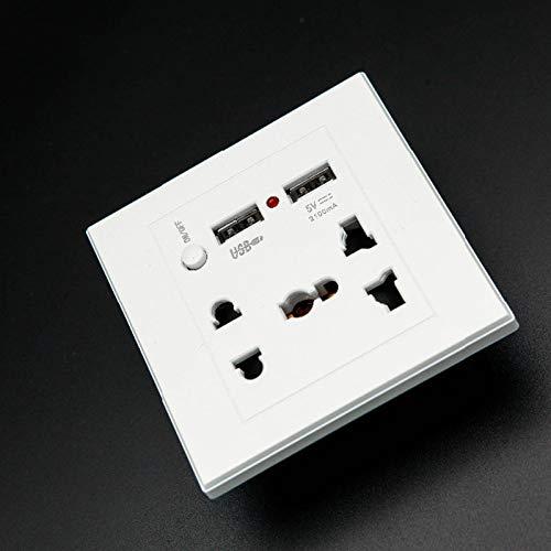 CYONGYOU Toma de Corriente USB Panel de Toma de Corriente Universal con 2 Puertos USB Enchufe Interruptor del Cargador Toma de Corriente