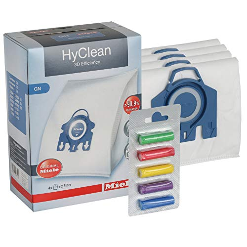 Miele HyClean GN 3D Efficiency Dustbags for Classic C1 C2 C2, Complete, S2000, S5000, and S8000 Series & Free Qualtex Rainbow Air Fresheners
