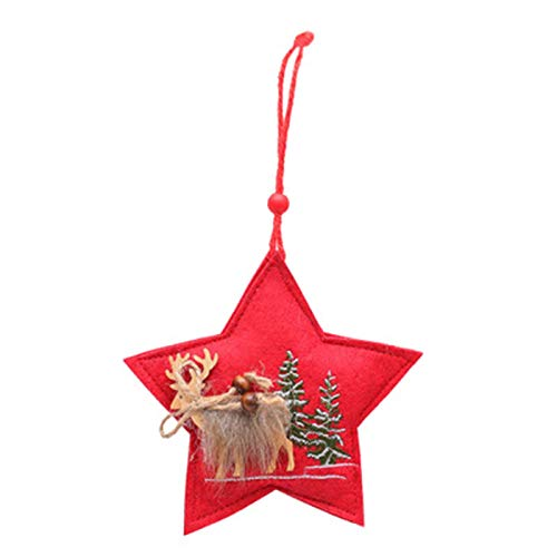 Kashy Christmas Decoration Five-Pointed Star Tree Pendant Christmas Felt Cloth Sewing Small Crane Christmas Tree Accessories,1pcs
