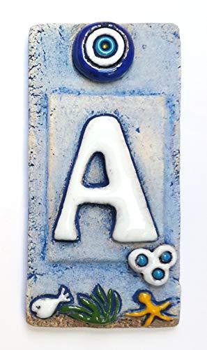 Hausnummernschild, Keramik, 12 x 5 cm, handdekoriert, Hausnummer, Türnummern, Vintage-Geschenk blau