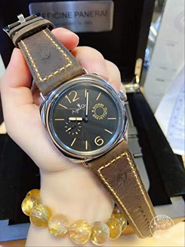 Klassische Armbanduhr Herren Automatik Mechanisch Saphir Edelstahl 8 Tage Otto Giorni Aisi Leuchtuhr Leder 44mm imAlter von 1