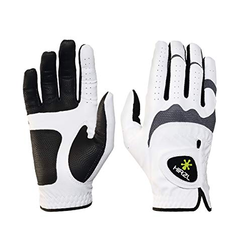 HIRZL Trust Hybrid Golf Gloves, Mens Golf Glove, White/Black, Nylon, Kangaroo Leather, Polyester, Ultimate Grip, Wet/Dry, Ergonomic Fit, Breathable, Sweat Free, Water Repellent, Large, Right Hand