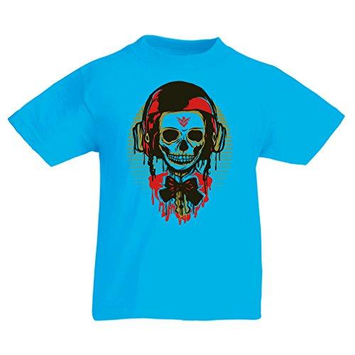 lepni.me Camiseta para Niño/Niña Un cráneo de Moda con Casco de Motocicleta (12-13 Years Azul Claro Multicolor)