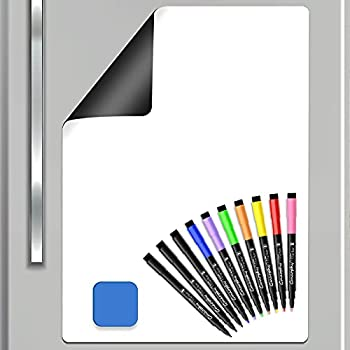 Magnetic Dry Erase Board for Fridge 17  x 11  Magnetic Whiteboard Sheet with 10 Markers 1 Magnet Eraser Small Dry Erase White Board for Kitchen Home Kids Stain Resistant Refrigerator Dry Erase Whiteboard Planner Organizer