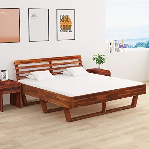 BNT Flamingo Bed Frame Solid Acacia Wood 180x200 cm