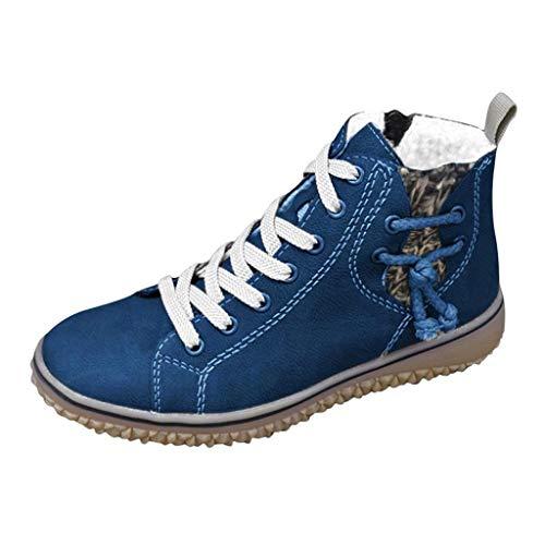 Stivaletti Stivali Sneakers Donna Calda Taglie Forti Scarpe Basse Casual con Zeppa Stivali Corti alla Caviglia (37,Blu)