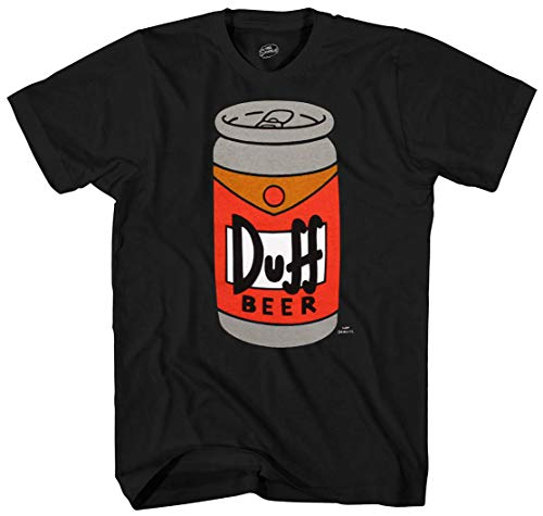 The Simpsons Duff Beer Can Adult T-Shirt - Black (Medium)