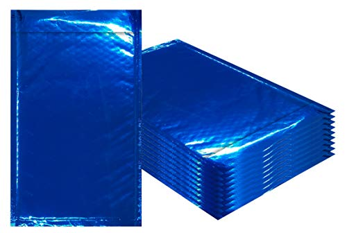 Amiff Bubble mailers 5x9. Padded envelopes 5 x 9. Exterior size 6x10 (6 x 10). Peel & Seal. Glamour Metallic foil. Pack of 25 Blue cushion envelopes. Mailing, shipping, packing, packaging